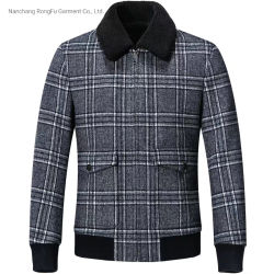 Veste tendance mode occasionnel des hommes Vérifier boutonnière Manteau de laine