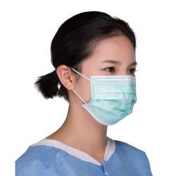 Non-Woven descartáveis 3 Folhas a máscara facial com atilhos