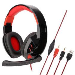 Jeu de lumière LED casque son surround double au cours de l'oreille Casque de jeu PC stéréo avec microphone et télécommande
