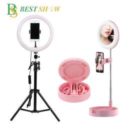 China 26cm/10 polegada 30cm/12 polegada 15polegadas 18polegadas Circle Estúdio Fotográfico Espelho LED Selfie regulável de luz da lâmpada do anel de enchimento de beleza com 210cm Suporte tripé ajustável