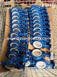 PTFE литые ковких чугунных Ggg50 Вафельной Выступ рукоятки с буртиком с Pn16 DN100 голубой воды двухстворчатый клапан