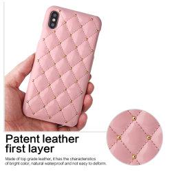 Téléphone mobile Bling rose paillettes Retour Étui pour iPhone Conception en cuir de cas