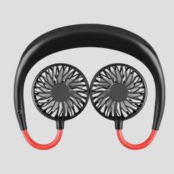 Ce brevet 2000mAh cou 4 heures 4W à 3 vitesses 1 LED du bouton d'éblouissement du cou d'usine de 360 degrés Ventilateurs ventilateur Rechargeable Mini ventilateur cadeau de promotion
