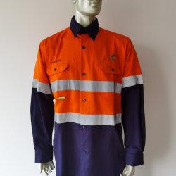 Katoenen Oranje Australisch Hoog Zicht Twee het Overhemd van het Werk van de Toon