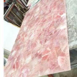 贅沢の半宝石のピンクの水晶平板のカウンタートップのローズ水晶タイル