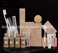 Muestra gratuita comodidades del hotel adaptado las instalaciones del hotel de lujo Dispostable Set Paquete biodegradables comodidades del hotel