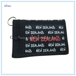 Neuseeland-volle Zeichen-Drucken-Flausch-Faltenbildung-Schwarz-Nylon-Mappe