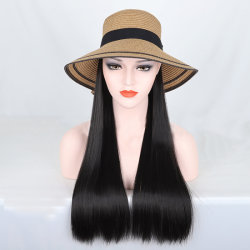 """Viviabella sombrero de paja con extensiones de cabello negro Natural Sintético recta peluca Hat sombreros de paja para las mujeres con pelo (L(Cabeza Circum: 22.6""""-23.6"""")"""
