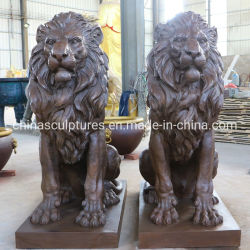 실물 크기 청동색 사자 동상 청동 사자 조각품