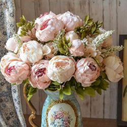 ホーム結婚式のセンターピースの装飾のための卸し売り絹のシャクヤクの人工花