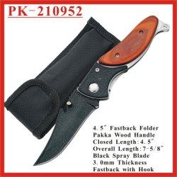 """(PK-210952) 4.5 """" francesi d'profilatura di opzione di linguaggio delle lame di Linerlock dello spruzzo di Fastback dell'amo della manopola nera di Pakka"""