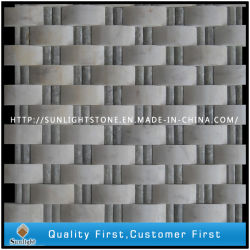 フロアーリングのための自然な石造りの灰色および白い大理石のモザイク・タイル