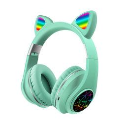 最新のBt5.0はステレオの無線スマートなヘッドセット猫耳LEDの多彩なヘッドホーンのイヤホーンを遊ばす