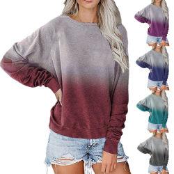 Женщин в повседневной одежде длинной втулки соединительной тяги на крышах красителя кожух горловины Реглан футболка