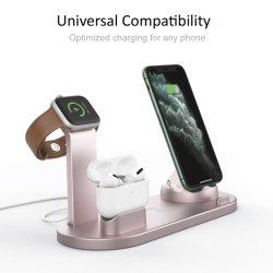 4 в 1 источник питания зарядного устройства беспроводной связи/аксессуары для телефонов/mobile/USB/зарядной станции Smartwatch зарядного устройства с подставкой для зарядки для аксессуаров для всех мобильных телефонов