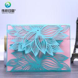 中国の卸し売り独特な銀の花の結婚式の招待のペーパーカード