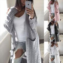 Mesdames tricoté chandail Cardigan Long Style manteau d'hiver de mode de gros