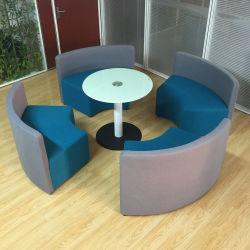 Forma curvada reunión sofá zona de cafetería para el público