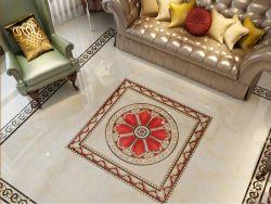 Fabricación de cristal pulido Azulejos de piso Alfombra de porcelana con oro en el interior