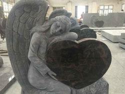 중국 공장 직접 절대적인 Shanxi 검정, 심혼 모양 기념물을%s 가진 오로라 화강암 천사, Doubel 심혼 손에 의하여 새겨지는 묘석을%s 가진 두 배 천사