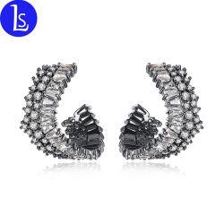 Мода ювелирные изделия ручной работы дизайн камень циркон черный пистолет оцинкованные женщин Earring