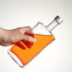 Claro Vazio Garrafa de licor 500ml 750ml Praça de alta qualidade Garrafa com rolha de vidro plano
