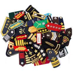 Prata ouro 1 bar a 4 bar Fabricante Epaulettes Piloto - Barras de ombro Rank/placa com rebaixo do Auditor Epaulette