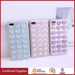 caisses mignonnes de téléphone de scintillement transparent de la Coeur-Forme 3D pour l'iPhone X