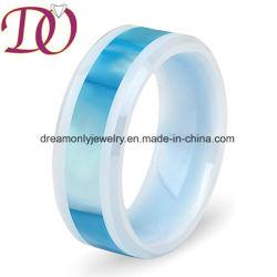 주문 상감세공 쉘 디자인 /Carbon 섬유 &Koa 목제 세라믹 반지 Engaedment 결혼 반지