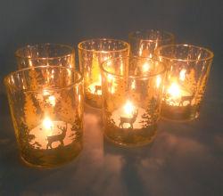 Рождество Hot-Selling шаблон Electroplated стеклянные чашечки держатель в форме свечи