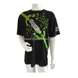 Maglietta rotonda del manicotto di Short dello Spandex del cotone del collo di promozione con il marchio stampato