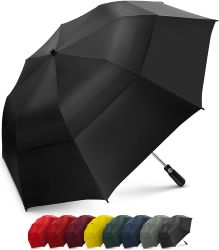 Ombrello piegante con il grande doppio baldacchino scaricato antivento - forte ombrello portatile surdimensionato di golf di 58 pollici della famiglia - pieghevole ad appena 23 pollici