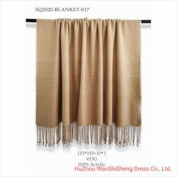 Manta de tejido blando de acrílico 100%durante toda la temporada Plain caqui para cama/sofá Manta