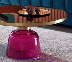 Hotel moderno de moda artista roxo na perna de vidro bronze escovado Mesa Redonda