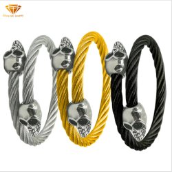 형식 보석 티타늄 강철 스테인리스 팔찌에 의하여 개인화되는 스테인리스 주물 두개골 팔찌 Ssbg2724
