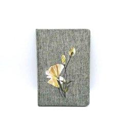 Les articles de papeterie Journal Art Fleur de transfert de tissu tissé, ordinateur portable à couverture rigide en tissu