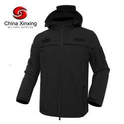 Fornecedor do governo tem proteção contra o preto Soft Shell Jacket Windbreaker Velo de Inverno homens casual da Jaqueta com o Capô