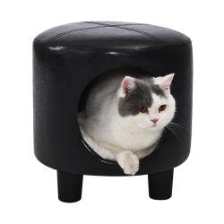 Cuero PU Derechos sentado Gato Gato Muebles Casa Sofá-Cama heces
