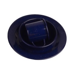 3PCS أزرق داكن يخيّم المينا المينا الخارجي الصلب الحوض المعدني مجموعة أدوات الطهي الخاصة بطبق/كأس لوحة/ كوب كوب