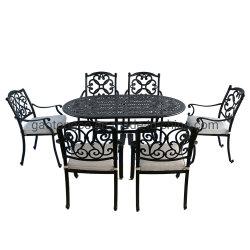 6 Lugares Jardim Mesa de jantar móveis em alumínio fundido Mobiliário de exterior o metal a mobília do pátio