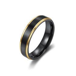schwarzes Gold gefüllter einfacher Edelstahl-Ring-Titanring der Art-18K für Mann-Schmucksache-Geschenke