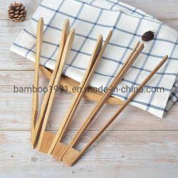 Cozinha de bambu pinças para alimentar a cozedura salada de ferramentas churrascos as pinças do clipe de grelhar para cozinha antiaderente