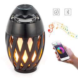 Alto-falante Bluetooth Carga mini USB chama de LED de exterior da luz ambiente portátil à prova de luz noturna LED de alto-falante estéreo Bluetooth