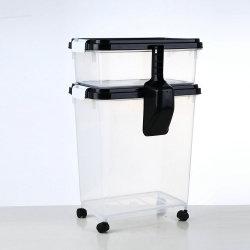 3部分気密のプラスチック犬猫のペットフードの貯蔵容器