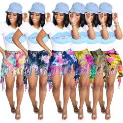 2021 Neue Design Sommer Casual Krawatte Dye Tassel Frauen Sexy Jeans Shorts Denim Hose