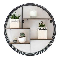 كل ذلك في واحد مخصص الديكور الداخلي الملحقات Black Round Metal ورف التعليق الخشبي على الحائط بغرفة المعيشة