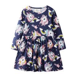 Niña de manga larga primavera Otoño falda Floral Hilary Duff nuevo diseño transpirable 100% puro algodón Boutique personalizada Premium hermoso vestido