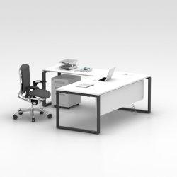 현대 L 모양 사무용 가구 강화 유리 상단 크롬 사무실 실무자 책상