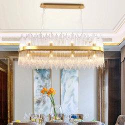 Kroonluchters van het Kristal van de Rechthoek van de Tegenhanger van het Huis van de luxe de Moderne Decoratieve Lichte Gouden (wh-ap-89)