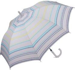 مظلة عصا مقاومة للرياح تلقائية قوية مستقيمة في أشرطة للشمس وRain-UV Prevention Stick UPF 50+ مع خطاف J المقبض